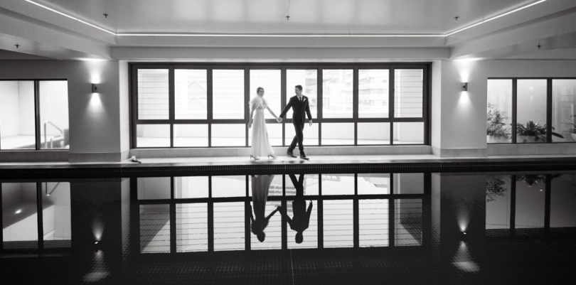 auckland wedding couple reflection